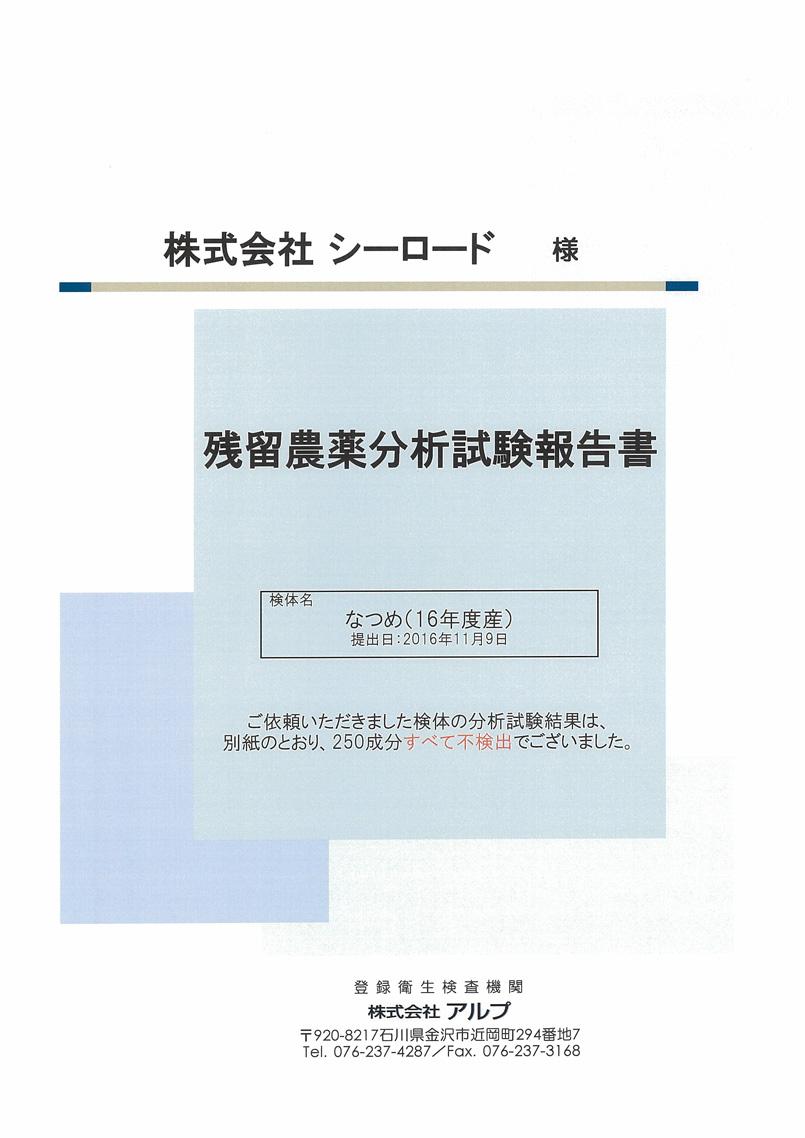 残留農薬分析試験結果1